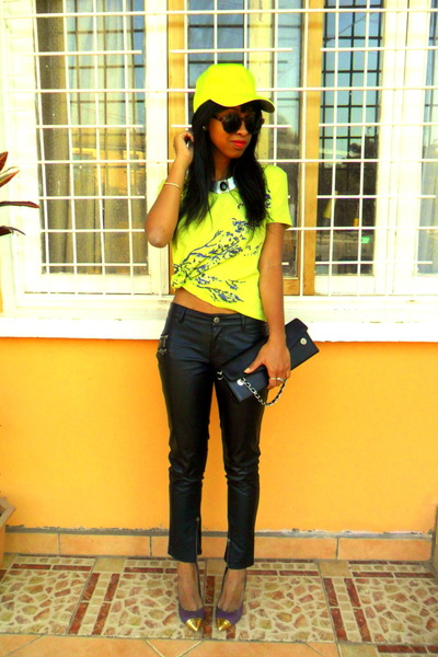 neon t-shirt - H&M sunglasses - purple cap toe Studio X Andr pumps