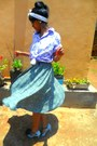 Light-purple-dorothy-shirt-dark-green-kithie-lee-skirt-denim-michelle-heels