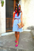 sky blue courreges dress - hot pink Christian Louboutin heels - Guess watch