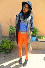 Carrot-orange-skinny-jeans-black-lily-shoes-boots-black-h-m-hat