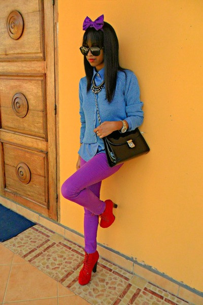 Blue Louis Vuitton shirt - red Go Jane Litas like shoes - amethyst Skinny jeans