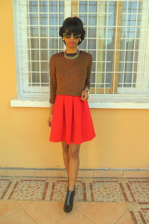 brown leopard sweater - black boots - red worn as skirt New Look dress