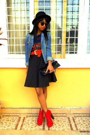 red Litas like shoes - black H&M hat - denim DIY pearled collar jacket
