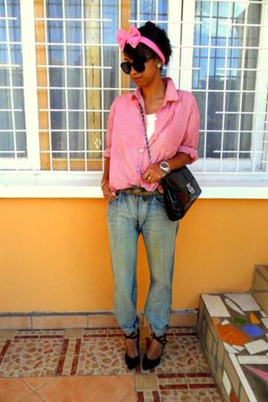 boyfriend jeans - red plaid shirt - bubble gum DIY bow headband accessories