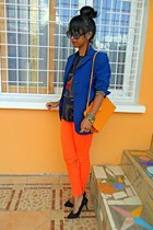 blue blazer - carrot orange Skinny pants