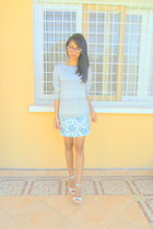 sky blue printed dress worn as a skirt - periwinkle striped sweater