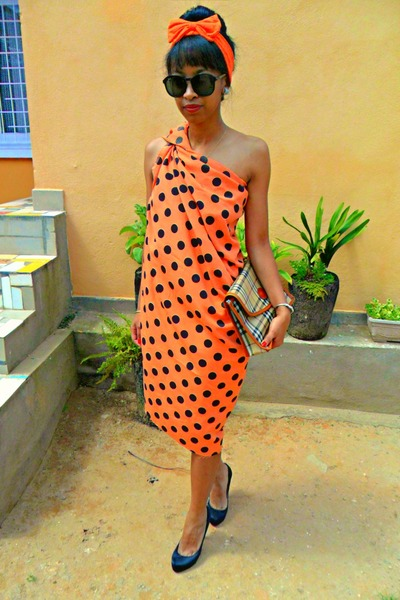 carrot orange diy polka dots dress - DIY Headband accessories