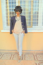 periwinkle jogging pants - off white Mary Jane shoes - navy blazer