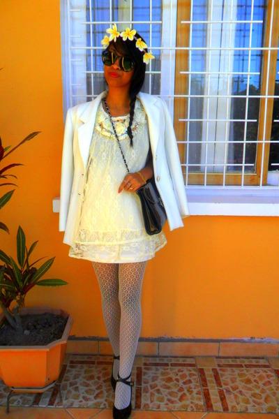 cream lace dress - cream tights - light yellow DIY Headband accessories