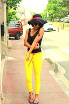 yellow Skinny jeans - black Claires hat - black sleepers flats