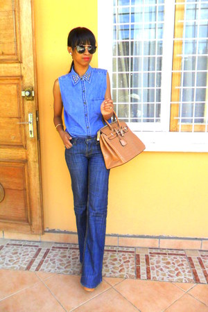 denim studded collar shirt - blue denim flared jeans - mustard bag