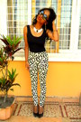 H-m-dalmatian-print-pants-i-am-necklace-claires-earrings
