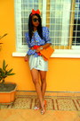 Orange-kitty-cat-flats-blue-floral-print-jacket-orange-purse-rolex-watch