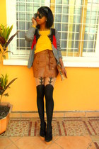 sweater - Topshop suspenders tights - headband accessories - black clogs