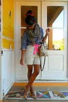 Louis Vuitton shirt - leopard scarf - Time bag - Casual denim shorts