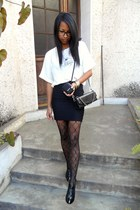 ivory Parisienne blouse - black Raxmax boots - black DIY skirt