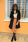 Rolex-watch-black-feutre-coat-nude-missy-sweater-carrot-orange-dots-skirt