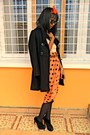 Carrot-orange-dots-skirt-black-feutre-coat-nude-missy-sweater