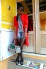 Red-j-brand-coat-black-xbx-shoes-baxter-shirt-rayban-round-sunglasses