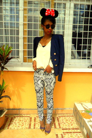 H&amp;M pants - navy Vila blazer - H&amp;M Round sunglasses - cream blouse