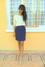 Eggshell-valentino-like-shoes-off-white-blouse-navy-skirt