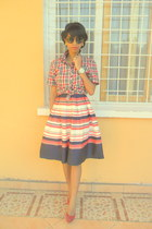 blue worn as a skirt striped dress - red plaid shirt