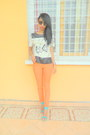 Carrot-orange-skinny-jeans-ivory-printed-bi-material-blouse