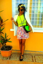 chartreuse neon bag - light pink Flower Print skirt - neon top