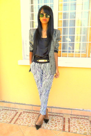 white zebra print jodhpur pants - black Christian Louboutin heels