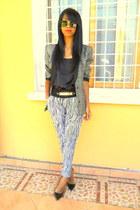 white zebra print jodhpur pants - black Christian Louboutin heels