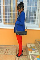 blue blazer - red tights
