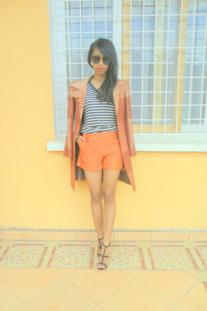navy striped t-shirt - burnt orange striped Printemps blazer