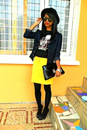 black H&M hat - black bones t-shirt - yellow skirt