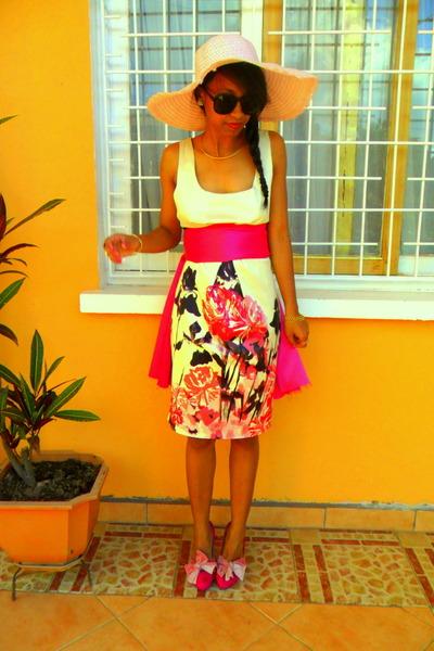 hot pink Christian Louboutin DIY ribbon heels - cream Flower Print dress