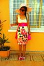 Cream-flower-print-dress-light-pink-hat-hot-pink-belt-gold-necklace