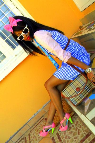 plaid dress - light pink shirt - turquoise blue scarf - Burberry like bag
