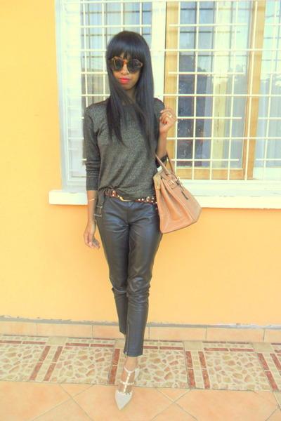 black leather pants - cream Shoedazzle shoes