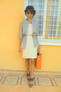 Black-shoes-cream-lace-dress-periwinkle-shirt-carrot-orange-bag