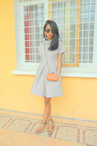 orange purse - periwinkle 50s inspired dress - H&M Round sunglasses