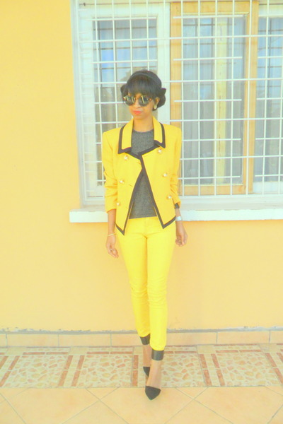 yellow blazer - yellow Skinny pants - black Zara ankle strap heels