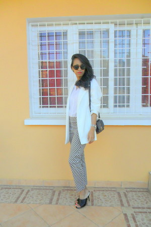 black Zara mule shoes - white Stradivarius blazer - black H&M pants