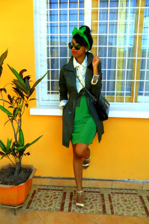 turquoise blue floral print shirt - army green coat - skirt - Rolex watch