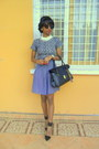 Blue-polka-dot-jupe-culotte-shorts-white-necklace