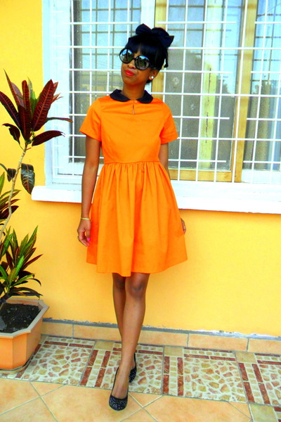 orange homemade by Mommy dress - black bow headpiece accessories