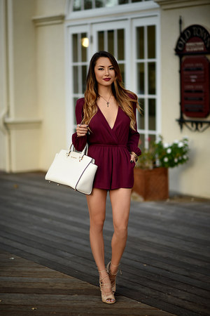 Lovers and Friends romper - Michael Kors purse - lipstick Buxom accessories