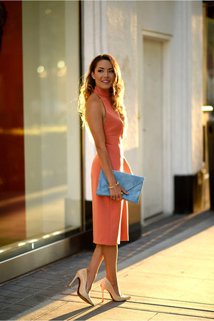 Schutz shoes - salmon similar Zara dress - sky blue asos bag