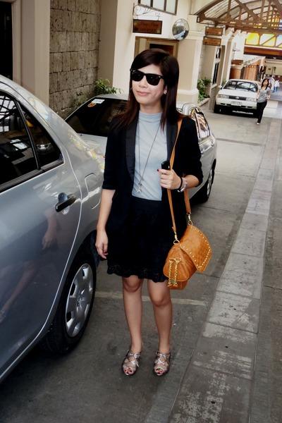 NY blazer - Bayo blouse - random skirt - charles&keith heels - rayban sunglasses