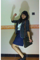 gray blazer - vintage bag - white The Executive blouse - blue skirt