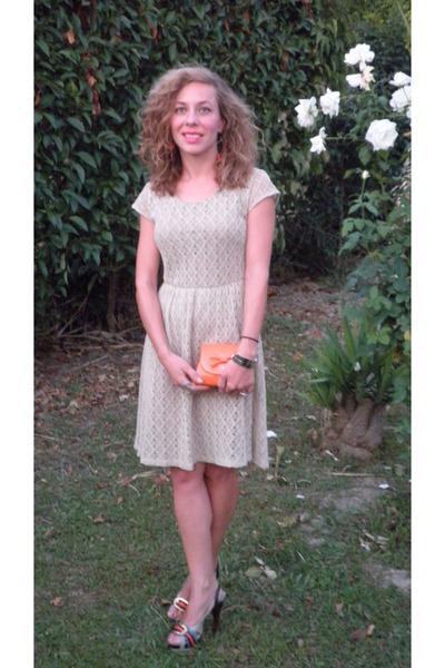 off white dress - orange tiny purse purse - silver calvin klein watch - heels