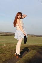 light blue Topshop dress - black Topshop hat - white Topshop jacket - burnt oran